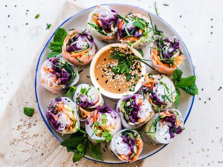 Colorful vegan food for low-fat vegan diet