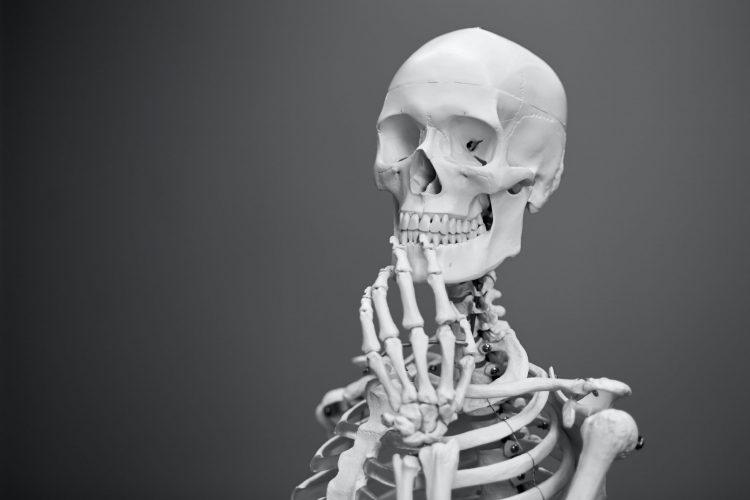 A contemplative skeleton